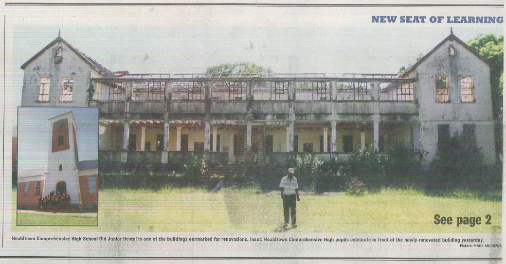 Click the image for a view of: Picture  of Healdtown School in news article