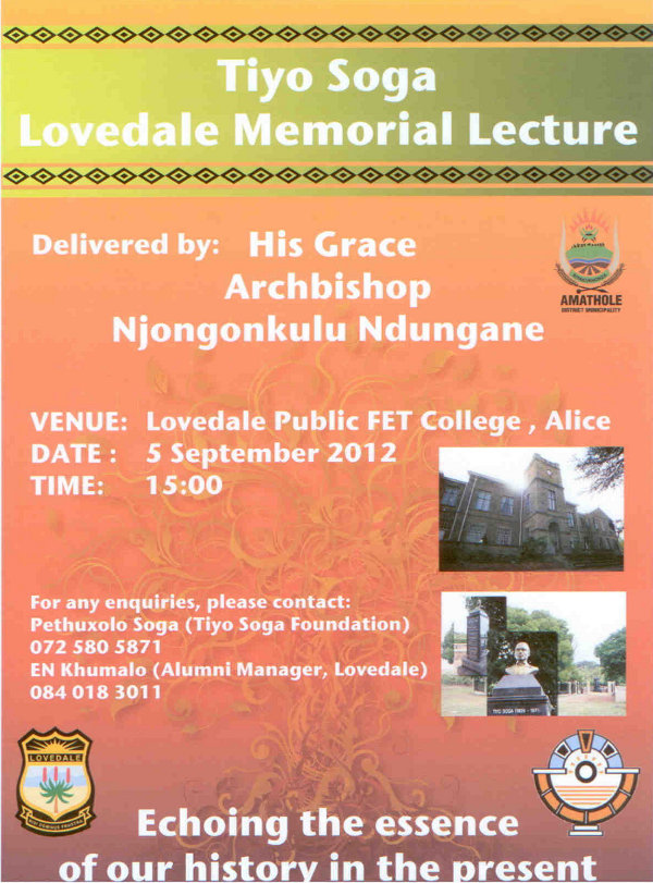 Click the image for a view of: TIYO SOGA Lovedale Memorial Lecture Delivered by: Archbishop Njongonkulu Ndungane