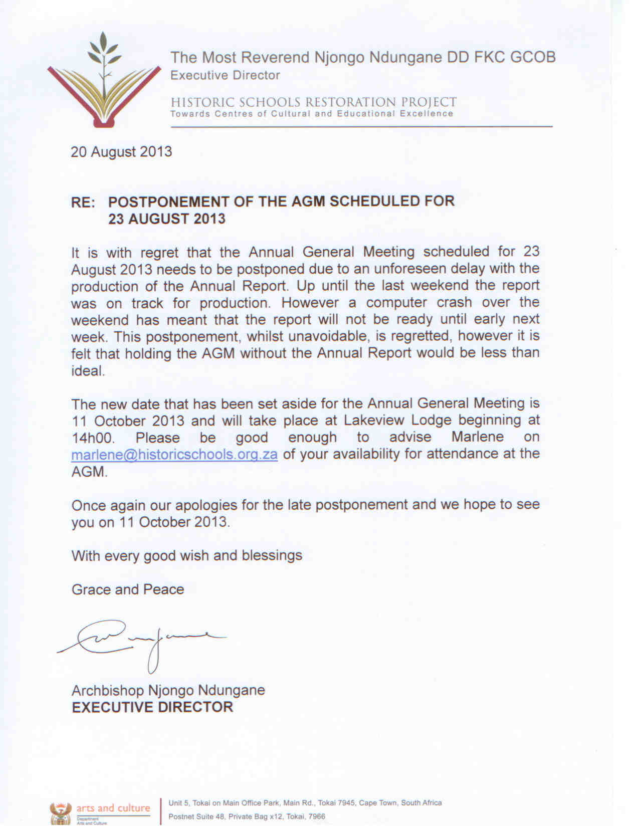 POSTPONEMENT OF AGM SCHEDULED FOR 23 AUGUST 2013