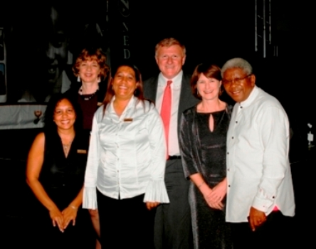Click the image for a view of: From left to right: Yolande, Penny, Carmel, Rob, Di, Archbishop  (Missing: Thabisa, Phumza)